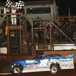 Josh Richards crosses the finish line to win Saturday's Firecracker 100 at Lernerville Speedway. (Julia Johnson Photo)