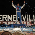 Josh Richards celebrates in victory lane after winning Saturday's World of Outlaws Late Model Series Firecracker 100 at Lernerville Speedway. (Julia Johnson Photo)