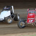 Wes McIntyre (83) battles Jerry Coons Jr. for the lead in Sunday's Bob Darland Memorial at Kokomo (Ind.) Speedway. (Gordon Gill Photo)