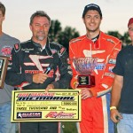 Dave Darland (second from left) joined race Bob Darland Memorial winner Wes McIntyre in victory lane following the race to honor Darland's father Sunday at Kokomo (Ind.) Speedway. (Gordon Gill Photo)