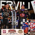 Daryn Pittman (left) and Donny Schatz each picked up victories during the Don Martin Memorial Silver Cup Tuesday at Lernerville Speedway. (Joe Secka/JMS Pro Photo)