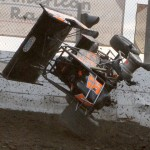 James McFadden flips during World of Outlaws STP Sprint Car Series action at Lebanon Valley Speedway on Sunday. (Dick Ayers Photo)