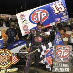 Donny Schatz stands in victory lane after winning Sunday's World of Outlaws STP Sprint Car Series event at Lebanon Valley Speedway. (Dick Ayers Photo)