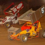 Mike Lutz (5) and Daryl Stimeling (30) slug it out for position during Friday's sprint car race at Pennsylvania's Lernerville Speedway. (Hein Brothers photo)