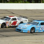 Rich Bickle (45) inches around the outside of Bobby Wilberg during the Triple Crown Challenge late model race at Madison (Wis.) Int'l Speedway. (Doug Hornickel photo)