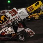 Kerry Madsen (29) battles Brad Sweet during Friday's World of Outlaws STP Sprint Car Series feature at Eldora Speedway. (Julia Johnson Photo)