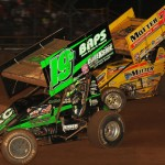 Brent Marks (19m) and Joey Saldana during World of Outlaws STP Sprint Car Series action at Lernerville Speedway on Tuesday night. (Julia Johnson Photo)