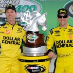 Matt Kenseth (right) and crew chief Jason Ratcliff stand in victory lane after winning Sunday's Quaker State 400 at Kentucky Speedway. (NASCAR Photo)