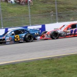 Ted Christopher (3) battles Ryan Preece during Saturday's NASCAR Whelen Modified Tour event at New Hampshire Motor Speedway. (Dick Ayers Photo)