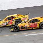 Donny Lia (4) works the outside against Eric Berndt during Saturday's NASCAR Whelen Modified Tour race at New Hampshire Motor Speedway. (Dick Ayers Photo)