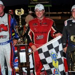Travis Benjamin (center), Joey Doiron (right) and Jay Fogleman were the top three finishes in the TD Bank 250 Sunday at Oxford Plains Speedway. (Norm Marx Photo)