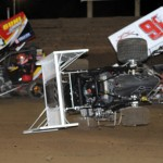 Travis Harris flips his micro sprint car during Friday's National Speed Sport News 66 Mike Phillips Memorial preliminary at Belle-Clair Speedway in Belleville, Ill. (Don Figler Photo)