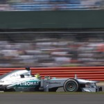 Nico Rosberg on track during Sunday's British Grand Prix. (Steve Etherington Photo)