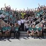 The Mercedes F-1 team celebrates after Nico Rosberg won the British Grand Prix last Sunday. (Steve Etherington Photo)