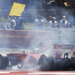 Felipe Massa's disabled Ferrari sits off the track during Sunday's German Grand Prix. (Steve Etherington Photo)