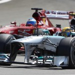 Nico Rosberg battles Fernando Alonso during Sunday's German Grand Prix. (Steve Etherington Photo)