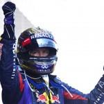 Sebastian Vettel celebrates after winning Sunday's German Grand Prix. (Steve Etherington Photo)
