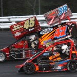 Randy Cabral (47), Russ Stoehr (45) and Bug Marvuglio during Saturday's Northeastern Midget Ass'n feature at Stafford Motor Speedway in Stafford Springs, Conn. (Dick Ayers Photo)