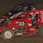 Jon Stanbrough (66) battles alongside Kevin Thomas Jr. during Friday's AMSOIL USAC National Sprint Car Series event at Lincoln Park Speedway in Putnamville, Ind. (Dave Heithaus Photo)