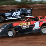 One of the best battles during the Steel Block Bandit late model event at Pennsylvania's Susquehanna Speedway Park featured Gene Knaub (1) and Andy Fries. (Clifford Dove Motorsports photo)