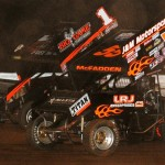 James McFadden (55) and Sammy Swindell during Saturday's World of Outlaws STP Sprint Car Series feature at Williams Grove Speedway. (Julia Johnson Photo)