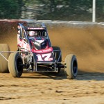Kevin Thomas Jr. kicks up some dirt during qualifying for Wednesday's AMSOIL USAC National Sprint Car Series event at the Terre Haute (Ind.) Action Track. (Gordon Gill Photo)