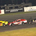 Donny Lia (4), Doug Coby (52) and Eric Goodale during Saturday's NASCAR Whelen Modified Tour race at Monadnock Speedway in New Hampshire. (Dick Ayers Photo)