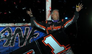 Sammy Swindell, seen here at Kansas, took the victory last night at  I-30 Speedway.