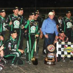 Austin Dillon and his crew pose on the front stretch after winning the Mudsummer Classic at Eldora Speedway on Wednesday. (Frank Smith Photo)