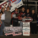 Jerrod Hull stands in victory lane after winning Saturday's Midwest Open Wheel Ass'n feature at Macon (Ill.) Speedway. (Mark Funderburk Photo)