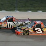 Timothy Peters (17) battles Ty Dillon Saturday at Iowa Speedway. (Dan Hodges Photo)