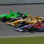 Marco Andretti, Ryan Hunter-Reay and James Hinchcliffe made up the front row for Sunday's IZOD IndyCar Series event at Pocono Raceway. (Bruce A. Bennett Photo)