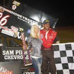 Aaron Pierce seen here in victory lane after winning Wednesday's Must See Racing Xtreme Sprint Series feature at Auto City Speedway in Flint, Mich. (Chris Seelman Photo)