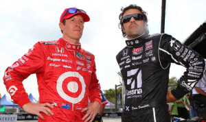Scott Dixon (left) chats with teammate Dario Franchitti in Baltimore Friday. (IndyCar Photo)