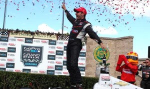 Will Power celebrates his first IZOD IndyCar Series victory of 2013 at Sonoma (Calif.) Raceway on Sunday. (IndyCar Photo)