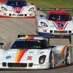 The Starworks Motorsports No. 8 entry shared by Brendon Hartley and Scott Mayer leads the way during Saturday's Grand-Am Rolex Sports Car Series race at Road America. (Grand-Am Photo)
