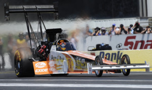 Clay Millican, seen here in NHRA competition earlier this year, will return to IHRA competition in October. (NHRA Photo)