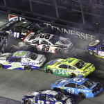 A pack of cars crash during Saturday's NASCAR Sprint Cup Series race at Bristol (Tenn.) Motor Speedway. (HHP/Gregg Ellman Photo)
