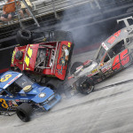 Ted Christopher (3), Andy Seuss (11) and Eric Berndt crash during Wednesday's NASCAR Whelen Modified Tour race at Bristol (Tenn.) Motor Speedway. (HHP/Harold Hinson Photo)