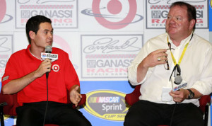 Chip Ganassi (right) introduces Kyle Larson as the driver of the No. 42 Earnhardt Ganassi Racing Chevrolet for 2014 on Friday at Atlanta Motor Speedway. (HHP/Tami Kelly Pope Photo)