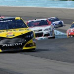 Marcos Ambrose leads the NASCAR Sprint Cup Series field during Sunday's race at Watkins Glen (N.Y.) Int'l. (NASCAR Photo)