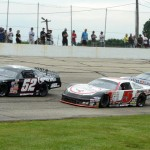 Chris Wimmer (52), Travis Sauter (5) and Skylar Holzhausen during Sunday's ARCA Midwest Tour event at Madison Int'l Speedway in Oregon, Wis. (Doug Hornickel Photo)