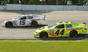 Kyle Benjamin (15) battles Frank Kimmel en route to his first ARCA Racing Series victory Sunday at Madison Int'l Speedway. (Doug Hornickel Photo)