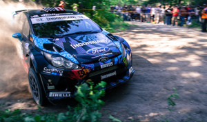 Ken Block and Alex Gelsomino won the Ojibwe Forests Rally. (Alex Haugen Photo)