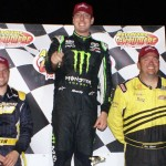 Kyle Busch (center), D.J. Shaw (left) and Ben Rowe completed the podium from Tuesday's Pro All Stars Series North event at Autodrome Chaudiere in Quebec. (Ken MacIsaac Photo)