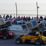 Jerry Caryer (75c), Mike Astrauskas (3a) and Dave Baumgartner during Wednesday's Hoosier Outlaw Sprint Series event at M-40 Speedway. (Chris Seelman Photo)