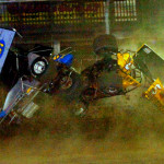 A high impact crash during the Lou Blaney Memorial Tuesday at Sharon Speedway as Jimmy Pooler (787) and Bob McMillin (5) made contact and took a double flip into the first turn. Both Pooler and McMillin walked away from their heavily damage machine uninjured. (Hein Brothers Photo)