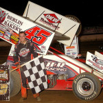 Danny Holtgraver stands in victory lane after winning Saturday's UNOH All Star Circuit of Champions feature at Mercer (Pa.) Raceway Park. (Hein Brothers Photo)