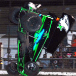 Shawn Petersen flips his sprint car during ASCS Gulf South competition at Heart O'Texas Speedway. (Tom Meredith photo)