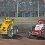 Dallas Hewitt (2) fights off Chad Boespflug en route to winning the Jack Hewitt Classic sprint car race at Ohio's Waynesfield Raceway Park. (Mike Campbell photo)